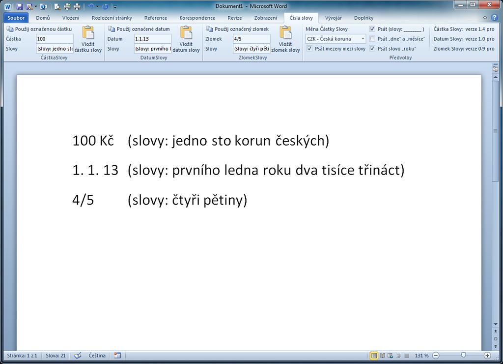 Čísla slovy - Částka Slovy - MS Excel - 1 licence