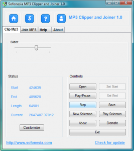 Sofonesia MP3 Clipper and Joiner 1.0 - náhled
