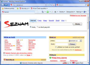 Seznam Internet Explorer 8 - náhled
