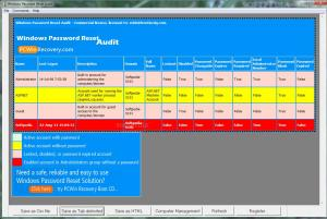 Windows Password Reset Audit Portable 1.9.2 - náhled