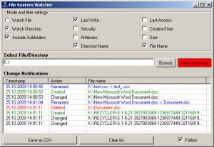 File System Watcher 1.0.0 - náhled