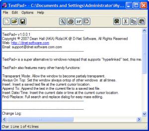 TextPad+ 1.0.0.2 - náhled