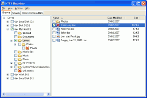 NTFS Undelete 0.93 - náhled