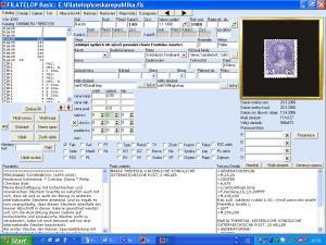 Hlavní obrazovka programu Filatelop - náhled