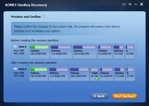 AOMEI OneKey Recovery 1.6 - náhled