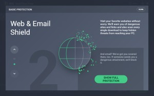 Web, email shield - náhled