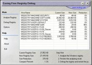 Eusing Free Registry Defrag 2.3 - náhled