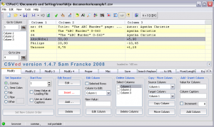 uniCSVed 1.1 - náhled