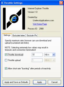 IE Throttle 1.0 - náhled