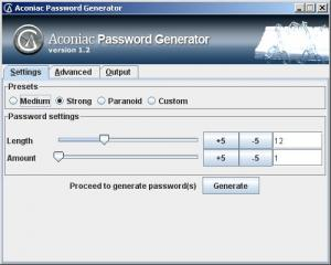 Aconiac Password Generator 1.2 - náhled