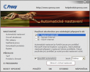 Automatické nastavení prohlížeče - náhled