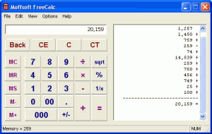 Moffsoft FreeCalc 1.2.0.6 - náhled