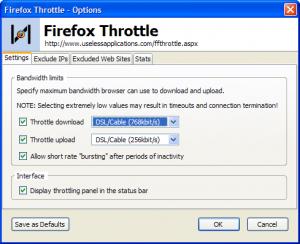 Firefox Throttle 1.0 - náhled
