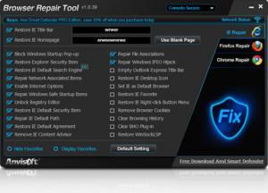 Anvi Browser Repair Tool 1.0 - náhled