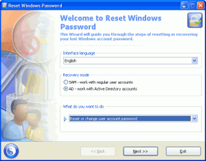 Reset Windows Password 7.2 - náhled