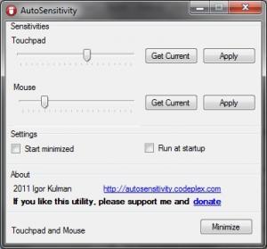 AutoSensitivity 1.4 - náhled
