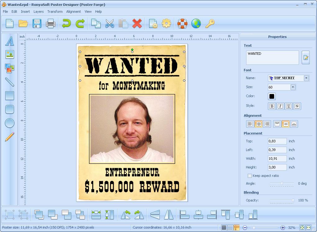 RonyaSoft Poster Designer 2.03.02.02 - Home License - 1 licence