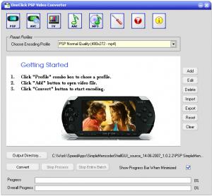 OneClick Sony PSP Video Converter - náhled