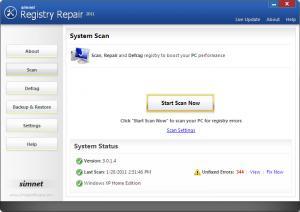 Simnet Registry Repair 2011 3.1.1.2 - náhled