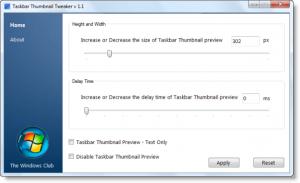 Taskbar Thumbnail Tweaker 1.1 - náhled
