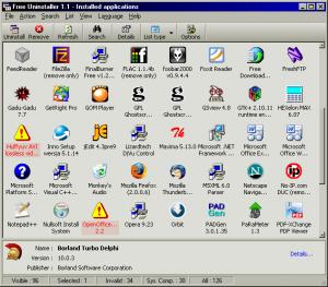 Free Uninstaller 1.1 - náhled