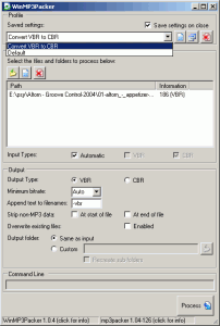 WinMP3Packer 1.13 - náhled