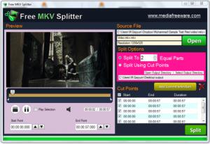 Free MKV Splitter 1.0 - náhled