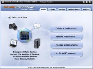 DriveHQ Online Backup 4.5 - náhled