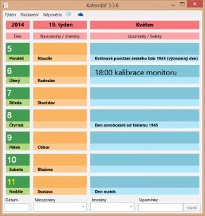 Kalendář - náhled