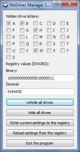 NoDrives Manager 1.2.0 - náhled