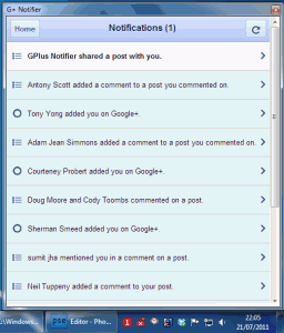 G+ Notifier Portable 1.8 - náhled