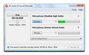 AV Audio & Sound Recorder 2.0.2 - náhled
