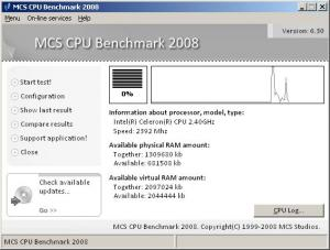 MCS CPU Benchmark 2008 6.30 - náhled