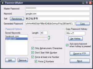 PasswordMaker 1.00 - náhled