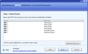 DataNumen NTFS Undelete 2.0 - náhled