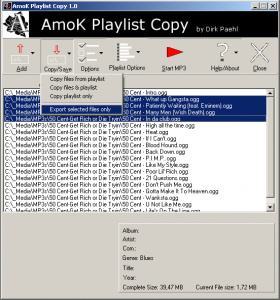 AmoK Playlist Copy 2.04 - náhled