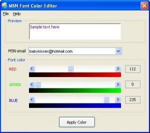 MSN Font Color Editor 1.2 - náhled