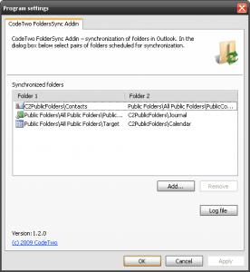 Code Two FolderSync Addin 1.4.2.0 - náhled