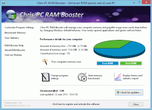 Chris-PC RAM Booster 4.10 - náhled