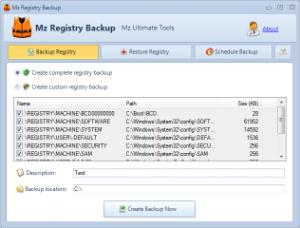 Mz Registry Backup 2.1.0 - náhled