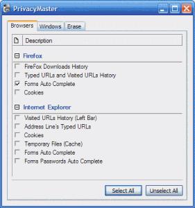 Privacy Master 1.0 - náhled