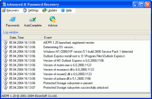 Advanced Internet Explorer Password Recovery 1.20 - náhled