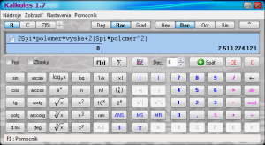 Kalkules 1.9.4.23 - náhled