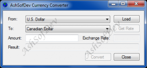 AshSofDev Currency Converter 1.0 - náhled