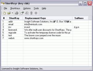 ShortKeys 3.5.1.1 - náhled