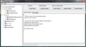 SourceHeader 0.1 - náhled