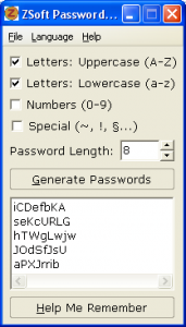 ZSoft Password Generator 1.2 - náhled