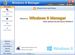 Windows 8 Manager 2.2.8 - náhled