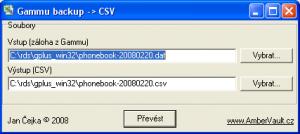 GammuBackup2CSV 1.0.0 - náhled