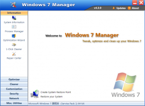 Windows 7 Manager 5.1.9 - náhled